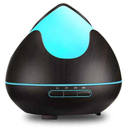 Difusor de aceite aromático 300ml Humidificador ultrasónico 7 colores LED Nebulizador Lámpara de aroma para sala de estar Dormitorio Oficina Coche Yoga Spa-Dark_Color_AU_PLUG