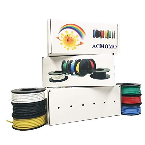 Filo di silicio flessibile -elettronica kit di cavi elettrici cavi di silicio intrecciati filo cavo di rame stagnato 5 colori 600V 20A -60 ° C - + 200 ° C 5 x 3 metri (ACMOMO 20A)