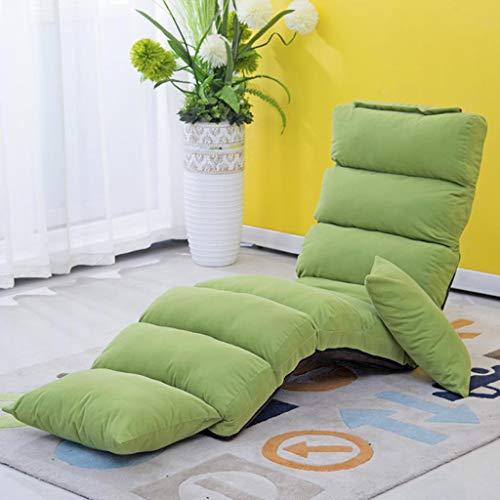 Huahua Furniture Bodenstuhl, Lounge-Schlafsofa Klappbarer 5-Fach Verstellbarer Stuhl mit hoher Rückenlehne und bequemem Schwammsitz mit abnehmbarem Pedal-Gaming-Stuhl (Color : Fruit Green)