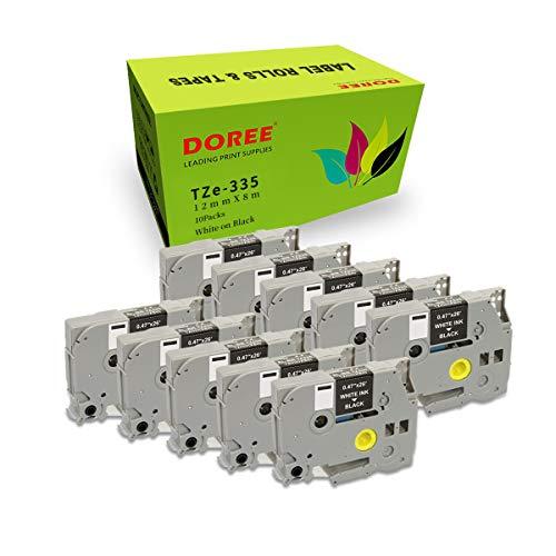 Doree TZe-335 TZe335 - Nastro di ricambio compatibile per etichette Brother Tz-335 Tz335, per Brother PTouch PTouch PT-1000 PT-1010 PT-H101C GL-H105 PT-2030VP (confezione da 1) Confezione da 10 pezzi.