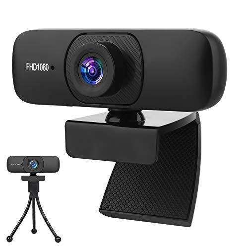 Full HD1080P Webcam con Microfono Stereo, USB PC Webcam con Copertura Telecamera, Desktop Laptop Fotocamera Web per Videochiamate, Studio, Conferenza, Registrazione,Plug and Play