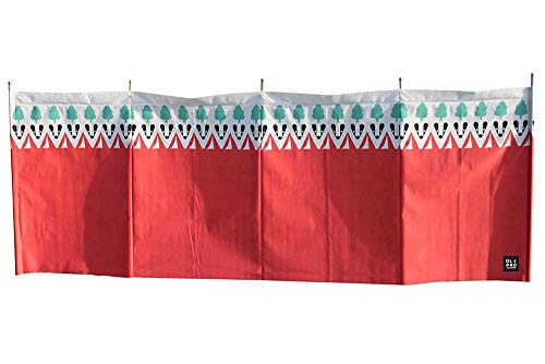 OLPRO Outdoor Leisure Products Witley Wooden 5 Pole Windbreak 4.8m Red