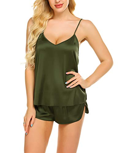 Ekouaer Sleepwear Womens Sexy Lingerie Satin Pajamas Cami Shorts Set Nightwear (Army Green, Large)