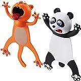 2 Piezas Marcadores de Libro de Animal de Dibujos Animados 3D Marcapáginas Divertidas Lindas Favores de Fiesta de Navidad Cumpleaños para Estudiantes (Forma de Panda, Gato)