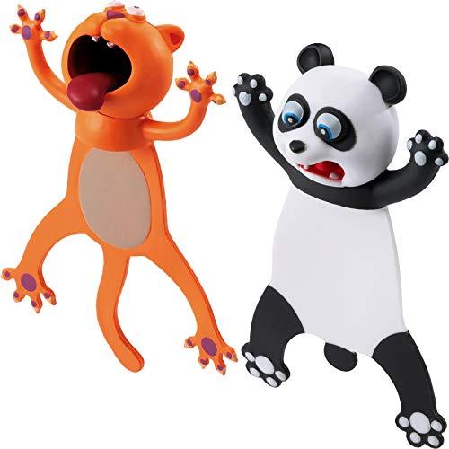 2 Segnalibri di Animali 3D di Cartoon Segnalibro Stravagante Simpatici Segnalibri Divertenti Segnalibro di Cartone Animato Cancelleria di Natale (Panda, a Forma di Gatto)