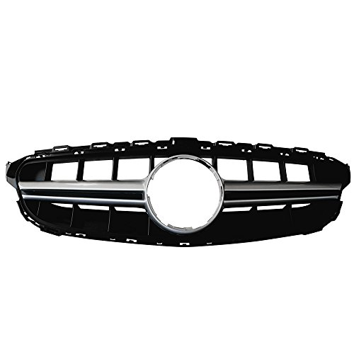 Front Grille Compatible With 2015-2018 Mercedes-Benz C Class W205 | Sport E63S Vertical AMG Style Silver Grill Front Bumper Hood Exterior by IKON MOTORSPORTS | 2015 2016