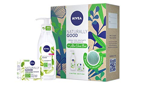 NIVEA Naturally Good Kit Cura Viso, con Crema Viso Idratante e Gel Detergente con Aloe Vera Bio