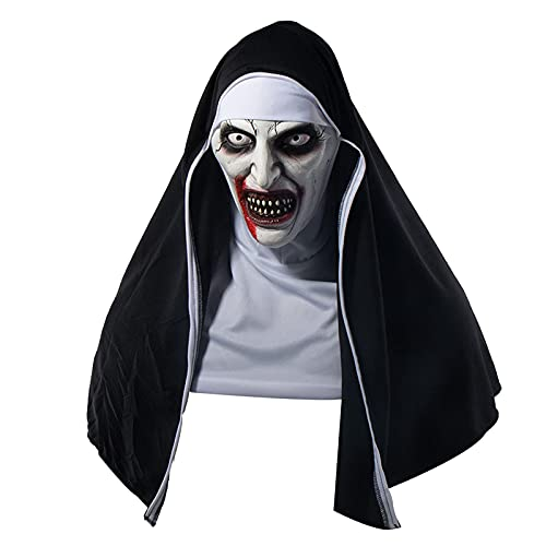 N\C Máscara de Monja Malvada de Halloween Tocado de látex Aterrador, Disfraz de Monstruo Demonio Malvado Máscara de Cabeza Completa Horror Halloween Cosplay Disfraces de Fiesta de Disfraces