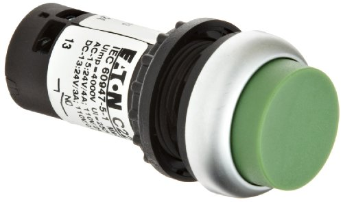 Eaton C22-DH-G-K20 Pushbutton Switch, Extended Mounted, Momentary Operation, Green Button Color, Silver Bezel Color, DPST-NO Contacts