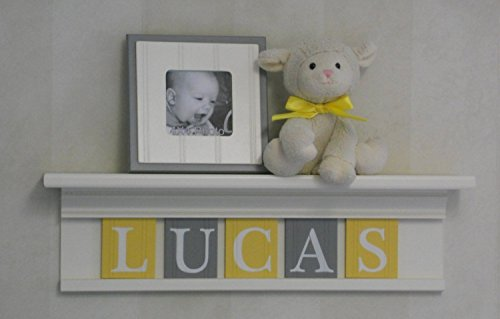 Yellow and Gray Baby Boy Nursery Shelf, Custom Nursery Decor Shelves, Handmade Shelf Painted in White, Baby Name Tiles in Yellow and Gray