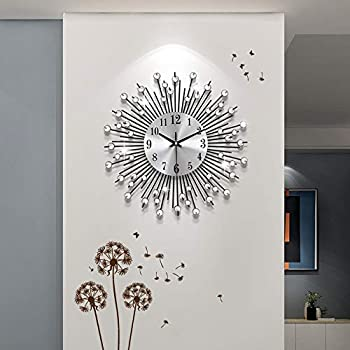 YIJIDECOR Large Wall Clocks for Living Room Decor,Crystal Round Metal Wall Clock Silent Non Ticking with Silver Aluminum Dial,14.96 inch Wall Decorative for Home Bedroom,Office,Farmhouse