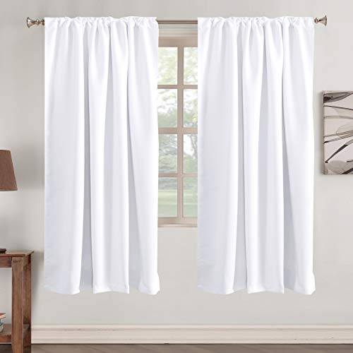 Blackout Curtains Thermal Insulated Window Treatment Panels Rod Pocket Window Panels for Small Windows Thermal Insulated Back Tab Curtains, 52