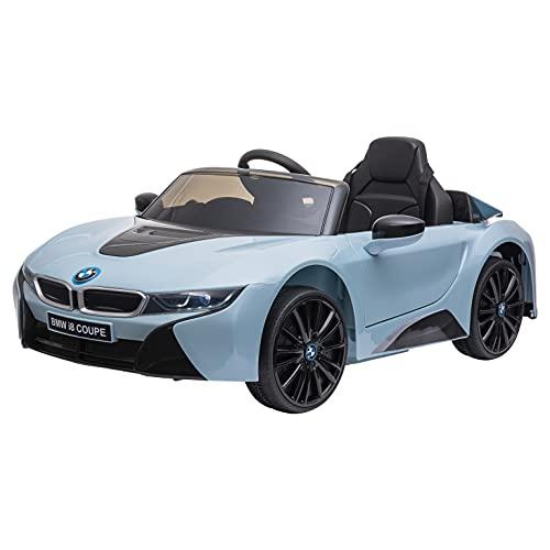 homcom Macchinina Elettrica BMW per Bambini 3-8 Anni con Telecomando, Luci e Lettore MP3, Blu, 115x72.5x46cm