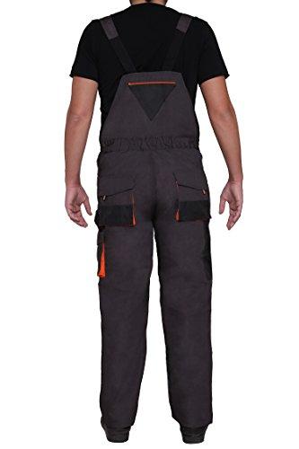 Latzhose Arbeitshose CLASSIC Handwerker KFZ Gärtner Mechaniker 270g/m2 (46, graphit/orange) - 5