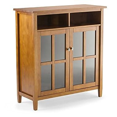 Simpli Home Warm Shaker Solid Wood Medium Storage Cabinet, Honey Brown
