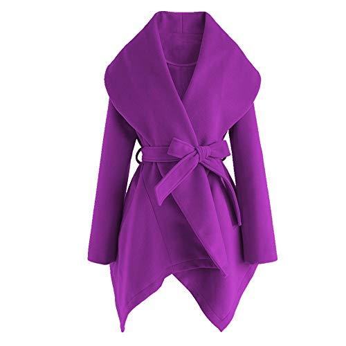 NOBRAND Abrigo casual con cuello de capa asimétrico para mujer