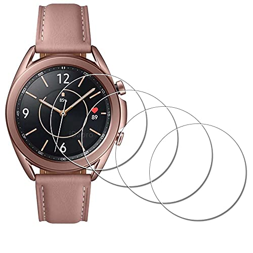 Displayschutzfolie für Samsung Galaxy Watch 3 41 mm Smartwatch [4 Stück], iDaPro gehärtetes Glas, kratzfest, blasenfrei, einfache Installation