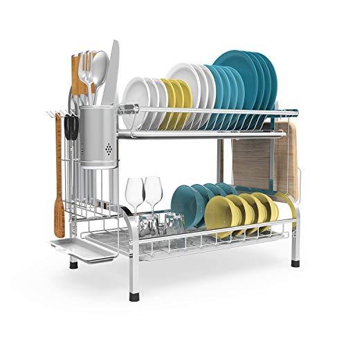 Shop Again - Escurreplatos de acero inoxidable 304 de 2 niveles con soporte para utensilios, soporte para tabla de cortar,...