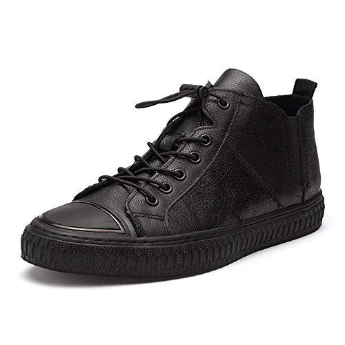 Ys-s Personalización de la Tienda Zapatillas de Deporte Casuales para Hombres Zapatos Deportivos atléticos de Tobillo de Cordones de Cuero Genuino Posición de Cuero Bandas Elásticas Turn Toe Cómodo y