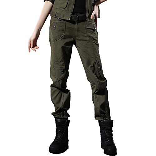 DMDMJY Pantalones De Camuflaje Cargo Ocasional De Las Mujeres Suelta Corte Recto Pantalones De Trabajo Militares