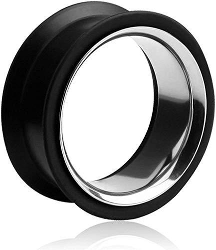 viva-adorno® 1 Stück Silikon Flesh Tunnel Plug Ohr Piercing Edelstahl Inlay Größe 6 - 40mm verschiedene Farben Z368, schwarz 24mm