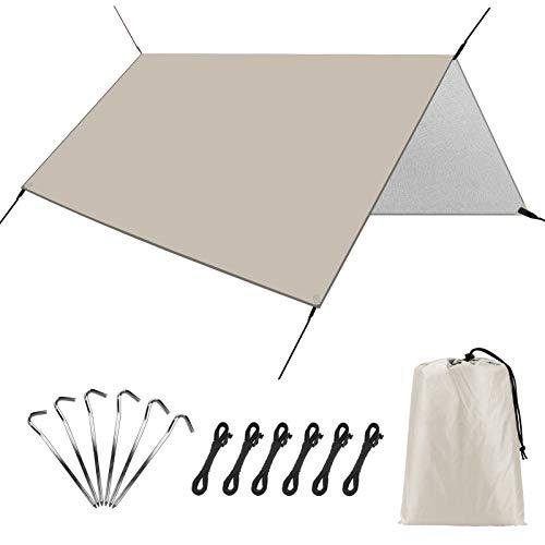Linkax Camping Zeltplane für Hängematte, Wasserdicht Leicht Campingzelt Tent Tarp Regenfliege Regenschutz Sonnensegel für Outdoor Camping Rucksackreisen Wandern Rucksackzelte Zubehör