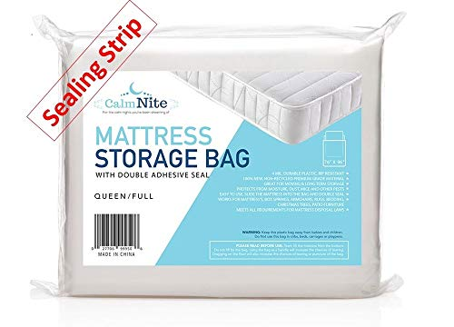 CalmNite Extra Thick Mattress Storage Bag with Adhesive Seal for Moving and Storing – Clear 4 MIL Plastic -...