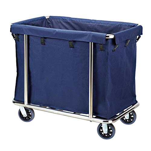 Jiamuxiangsi Wasserij Bins Rolling cart- Service Car Hotel Room Cleaning Trolley Roestvrij Staal Dikke Rechthoekige Gereedschap Winkelwagen Wasmand