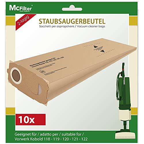10 Staubsaugerbeutel geeignet für Vorwerk Kobold 118, 119, 120, 121, 122 Staubsauger, Beutel VO 521 mit extra starker Deckscheibe