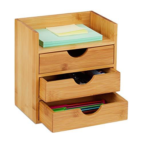 Relaxdays Schreibtisch Organizer, Ablage, 3 Schubladen, für Büroutensilien, Bambus Schubladenbox, HBT: 21x20x13 cm Natur, 1 Stück