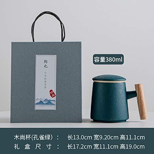 Xiaobing Taza de cerámica con Tapa para separación de té Taza de Agua Creativa con Mango de Madera Taza de té -Malaquita Verde-301-400ml