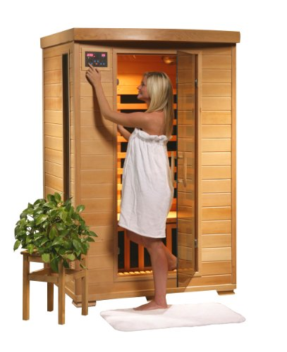 Coronado SA2406 2 Person Sauna with Ceramic Heaters Bronze Tinted Tempered Glass Door Oxygen Ionizer CHROMOTHERAPY system Towel Hooks Magazine Racks and Sound System