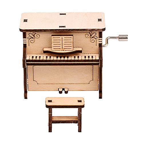Jroyseter 3D Holzpuzzle DIY Spieluhr mit hochwertigem Uhrwerk Handgekurbelte Holzspieluhr für Kinder Mini Dekoration Klavier Spieluhr