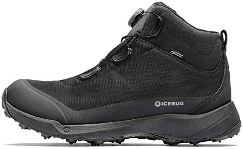 Icebug Mens Stavre BUGrip GTX Hiking Boot with Carbide Studded Traction Sole, Black, 10.5