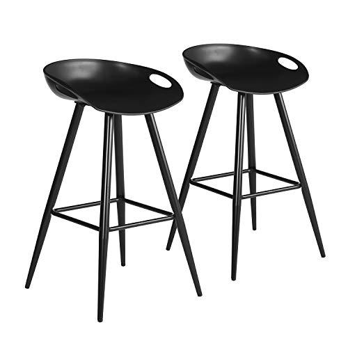 FurnitureR Conjunto de 2 taburetes de Bar Modernos contemporáneos sin Brazos de Altura Fija, Asiento de PP con Base de Metal Negro