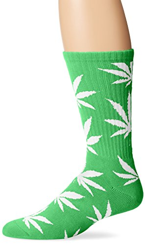 HUF Men's Plantlife Crew Socks, Lime/White, One Size