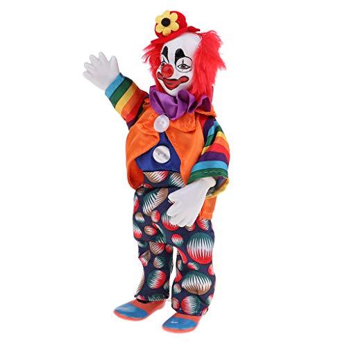 Fenteer Lustige Clown Mann Porzellan Puppe im Kleidung Spielzeug für Halloween Tisch Schreibtisch Dekoration - # 7, 23cm