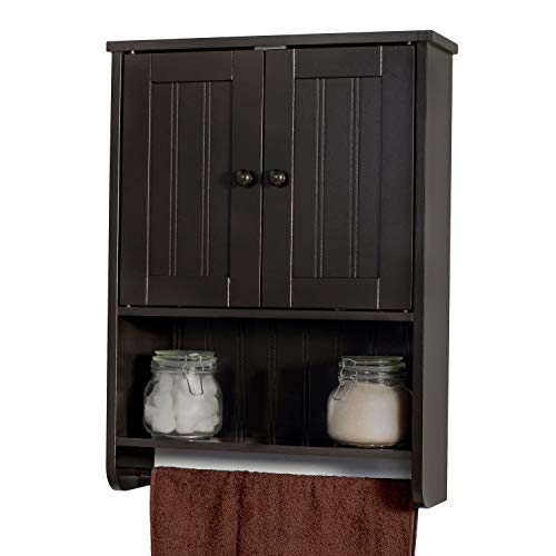 WholesalePlumbing Wall Mount Espresso Bathroom Medicine Cabinet Storage Organizer Towel Bar