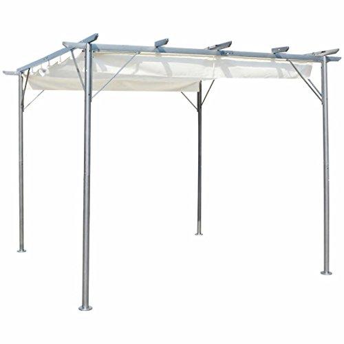 Festnight- 3 x 3 m Metall Pergola Gartenpergola mit Verstellbarem Dach Cremewei? Pavillon für Garten oder Terrasse