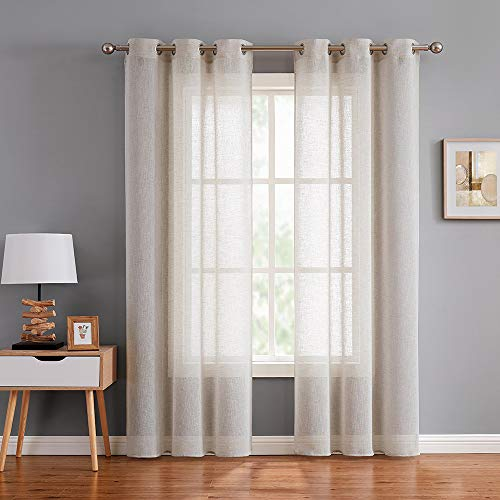 "Fragrantex Faux Linen Sheer Neutral Window Curtains for Living Room Bedroom 95"" Long Voile Curtain Panels Drapes with Grommet Top Tulle, 40"" Wx95 L, 1 Pair Linen"