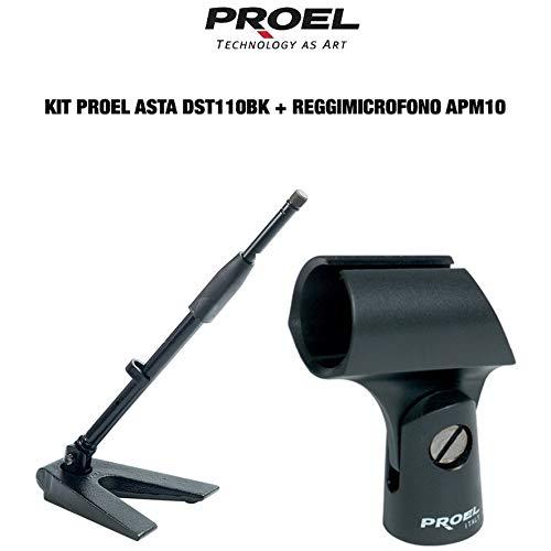 Proel DST110BK + APM10 - Base da tavolo triangolare con asta per Microfono, Nero Opaco + Supporto APM10 Reggimicrofono, Nero