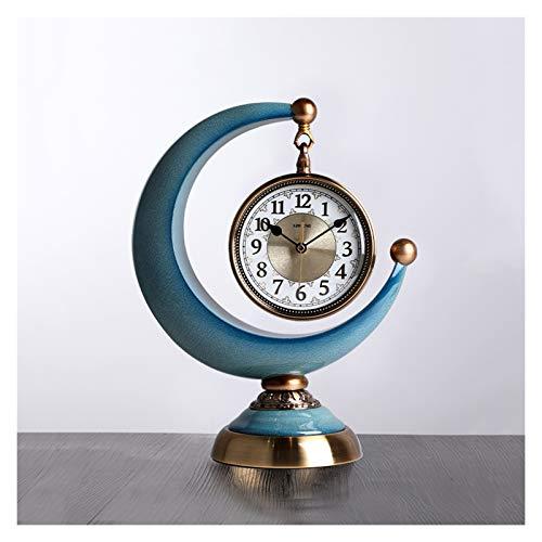 Decorativo Reloj Reloj de escritorio de escritorio de la tabla de mesa de la tabla de la mesa de un solo lado de la media luna, también se puede usar como una fuente de alimentación de la batería del