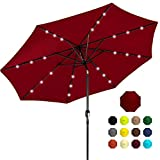 Best Choice Products 10ft Solar Powered Aluminum Polyester LED Lighted Patio Umbrella w/Tilt Adjustment and...