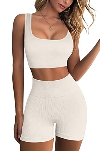 FAFOFA Workout Sets for Women 2 Piece Seamless Ribbed Crop Tank High Waist Shorts Yoga Outfits (Beige, s)