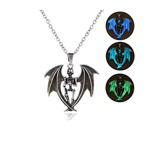 Beydodo Halloween Schmuck Vergoldet Damen Halskette Fluoreszenz Schädel mit Flügel Anhänger Kette Silber Leuchtend