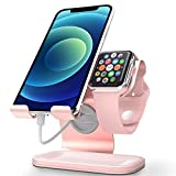 Apple Watch Stand, Apple Watch Charging Stand Station Dock, ZVEdeng 2 in 1 Universal Stand Holder for iPhone 12 Pro Max/12/12Pro/12 Mini Apple Watch Both 38mm-42mm (Rose Gold-Leather)