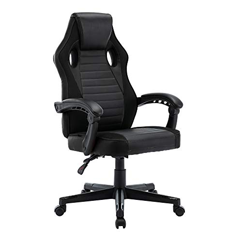 play haha. Gaming Chair Racing Style Office Swivel Computer Desk Chair Ergonomic Conference Chair Work Chair with Lumbar Support PU Leatherwith Adjustable Task Chair ,Gas lift SGS tested (Black)