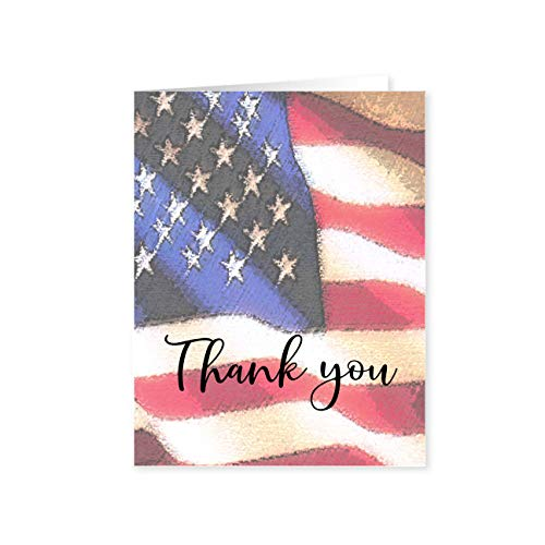 Patriotic Note Card - 10 Boxed USA Statue of Liberty Cards & Envelopes - American Flag (Thank You Patriotic)
