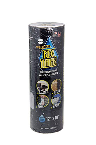 The Original Fix Tape (As Seen On TV), Rubberized Waterproof Adhesive Seal Tape, Patch and Repair Cracks, Pipes, Roof, Boat Leaks (White, 12 inches x 10 feet)