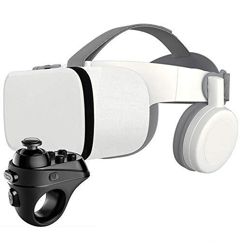 Bias&Belief VR-Brille mit Gamepad,Virtual Reality 3D Brille für 4,7-6,5 Zoll Smartphone,VR Headset für Kinder und Erwachsene,für Die Besten Handyspiele,Weiß,1